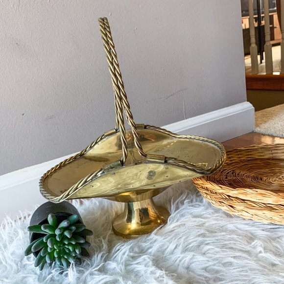 Large Vintage Brass Gold Basket